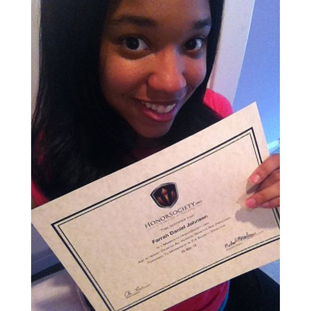 A big thanks to Farrah Johnson for being so actively involved with HonorSociety.org and following us so closely on social media. We love your enthusiasm and can't wait to see the great things you go on to do! - HonorSociety.org